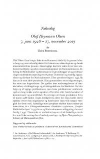HT 2016:2, s. 452-472 - Else Roesdahl: Olaf Heymann Olsen 7. juni 1928 - 17. november 2015
