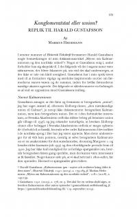 HT 2019:2, s. 573-581 - Markus Hedemann: Konglomeratstat eller union? Replik til Harald Gustafsson.