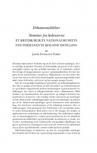HT 2020:1, s. 219-241 - Jakob Ingemann Parby: Stemmer fra kolonierne. Et kritisk blik på Nationalmuseets nye permanente koloniudstilling
