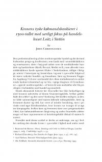 HT 2017:2, s. 329-341 - John Christiansen: Kronens tyske købmandsbankierer i 1500-tallet med særligt fokus på handelshuset Loitz i Stettin