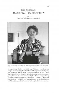 HT 2018:1, s. 197-202 - Carsten Porskrog Rasmussen: Inge Adriansen 27. juli 1944 – 27. oktober 2017