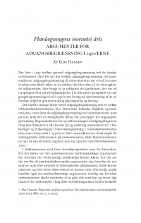 HT 2018:1, s. 77-112 - Else Hansen: Planlægningens (oversete) årti. Argumenter for adgangsbegræsning i 1970'erne
