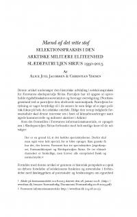 HT 2018:2, s. 401-426 - Alice Juel Jacobsen & Christian Ydesen: Mænd af det rette stof. Selektionspraksis i den arktiske miliære elitenhed Slædepatruljen Sirius 1950-2015