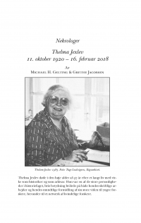 HT 2019:1, s. 2019-223 - Michael H. Gelting & Grethe Jacobsen: Thelma Jexlev 11. oktober 1920 – 16. februar 2018
