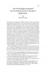 HT 2020:2, s. 531-547 - Adam Paulsen: Var Ernst Jünger antisemit? Nye materialer om et penibelt spørgsmål
